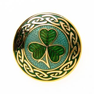 IRISH CELTIC KNOT SHAMROCK BROOCH PIN GOLD PLATED LADY WOMENS FASHION