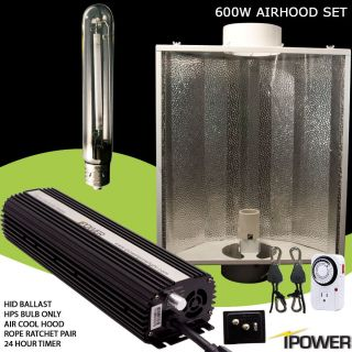 iPower 600 watt 600w Dimmable HPS Grow Light System Air Cool Hood Set