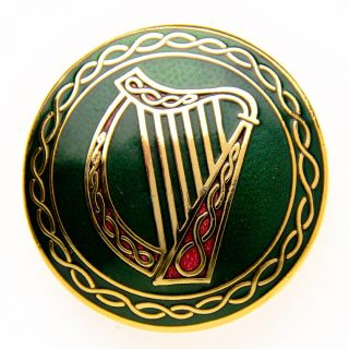 IRISH DANCE MUSIC CELTIC KNOT HARP BROOCH PIN GOLD PLATED LADIES
