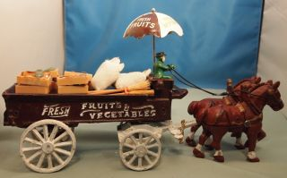 Die Cast Metal Horse Drawn Fruit Vegetable Delivery Wagon