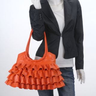 Genuine Italian Leather Orange Handbags Purse Hobo Bag Satchel Tote