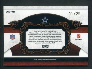 2007 National Treasures Michael Irvin Game Used Jersey Auto 01 25