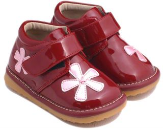 Girls Toddler Leather Squeaky Shoes Boots Patent Red with Pink Flowers