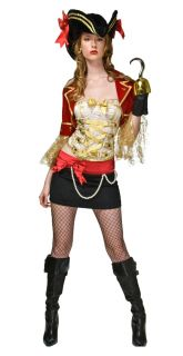 Sexy Womens Costume Fancy Pirate Skirt Bustier Corset Pearl Jacket