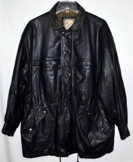 Luciano Black Soft Thick Leather Mens Long Jacket Coat Sz L
