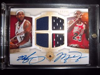 Michael Jordan Lebron James 2007 Ultimate Collection Quad Jersey Auto