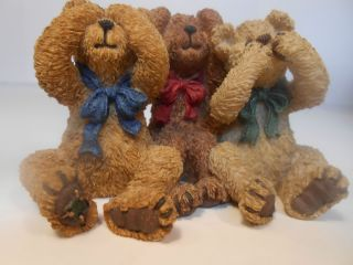BOYDS BEARS FIGURINE ANIMAL RESIN STATUE #4E/5515 HEAR/SPEAK/ SEE NO