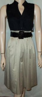 Jessica Howard New Black Tan Belted Dress Sz 14P H20