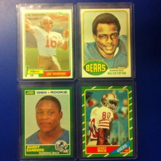 Joe Montana Jerry Rice Barry Sanders & Walter Payton Rookie Lot $$$$$