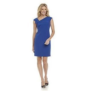Jessica Howard Royal Blue Asymmetric Neck Sheath Cocktail Career Dress