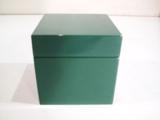 Vintage Square Green Jewelry Box Chest Casket Lid