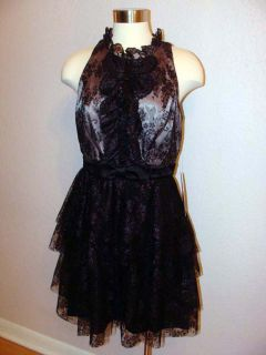 248 Jill Stuart Black Overlay Lace Party Cocktail Dress Sz 10