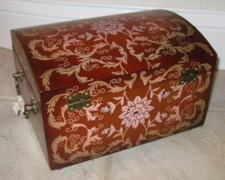 New Hand Painted Floral Chest Jewelry Box Chest