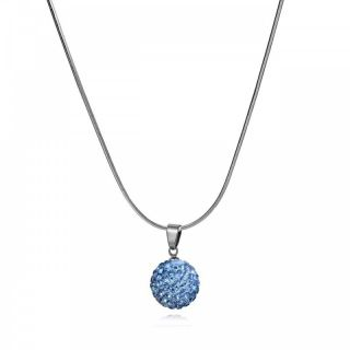 Fashion Jewelry Skyblue Pave Crystal Ball Pendant Necklace