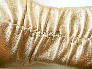Jimmy Choo Gold Ruffled Leather Knee High Boots 35 5