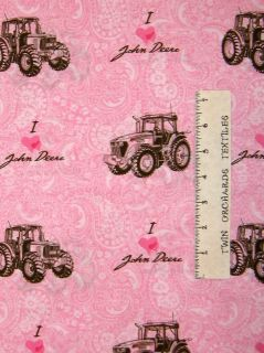 Love John Deere Pink Paisley Tractor Fabric Cotton Last 5/8 Yards