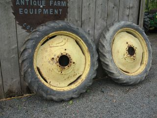 John Deere A B Rear Tires Rims 11 2 38 on 9 Bolt Pressed Steel Rims
