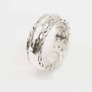 130154 John Hardy Men Hammered Silver Slim Band Ring 11