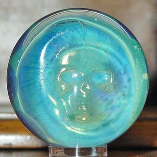 Signed Josh Mazet Iridescent Green Skull Glass Marble