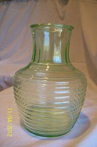 Vtg Green Depression Glass Refrigerator Water or Juice Pitcher or Jug