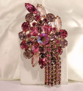 Vtg Juliana Pink Lavender Purple Givre AB Rhinestone Dangle Brooch Pin