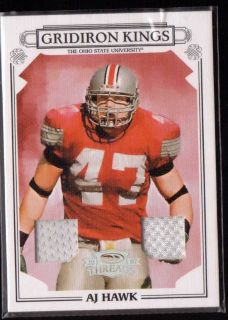 2007 THREADS A J HAWK GRIDIRON KINGS DUAL THE OHIO ST GAME USED JERSEY
