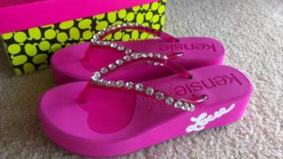 Kensie Girl Pink Rhinestone Crystals Ladies Wedge Platform Flip Flops