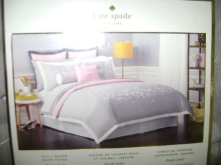 Kate Spade Duvet Cover Thistle Street Full Queen Dove Gray White