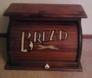 Antique Large Wooden Roll Top Bread Box Kitchen Storage Box