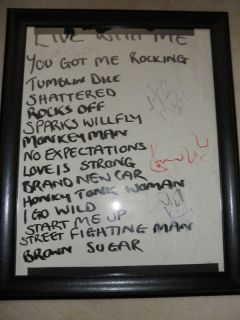 ROLLING STONES HANDWRITTEN SETLIST SIGNED BY 4 EXACT PROOF MICK JAGGER