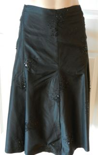 Krista Larson Black Silk Skirt with Black Sequins
