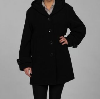 Jones New York Womens Wool Blend Black Hooded Coat Jacket Plus Size