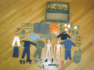 Vintage lot of 1964 GI Joe Figures, Clothes, and Accessories in the