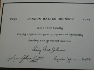 Lyndon Johnson Lady Bird Johnson Sympathy Card 1973