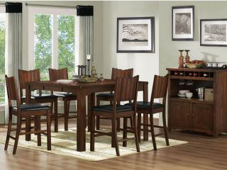 LADSON 7pcs CASUAL MODERN BROWN SQUARE COUNTER HEIGHT DINING TABLE