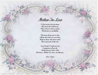Mother in Law Personalized Poem Mothers Day Gift