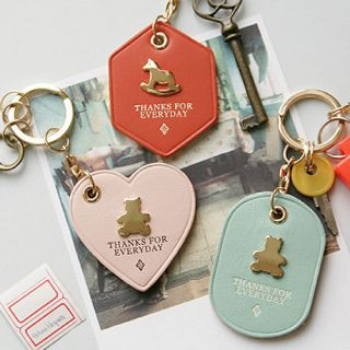 Leather Key Chain Cute Key Ring Cowhide Iconic Humming Key Holder V 3