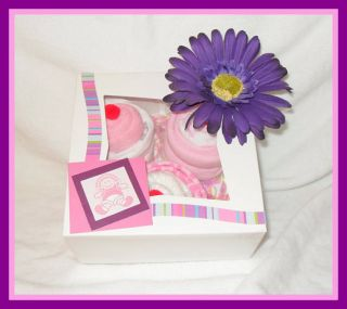 Piece Baby Girl Onesie and Diaper Cupcake Gift Box Perfect Baby Gift