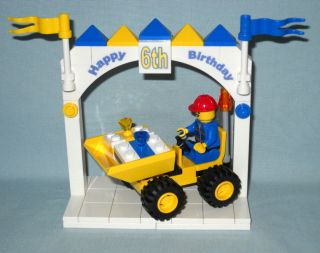 Custom Lego Happy 6th Birthday Cake Topper with Truck