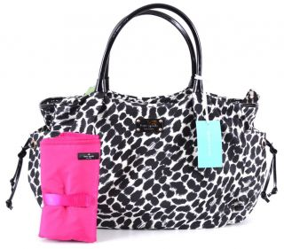 NWT Kate Spade Lindenwood Leopard Stevie Nylon Diaper Baby Bag Purse
