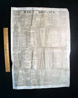 Willie Lincoln DIE 1862 Civil War Newspaper Jeff Davis Proclamation