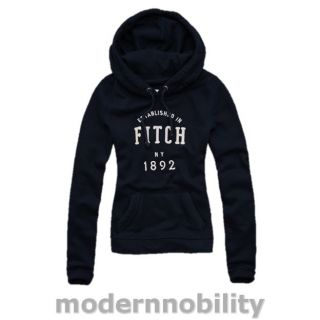 New Abercrombie Fitch Womens Lizzy Hoodie Sweatshirt Jumper Navy Blue