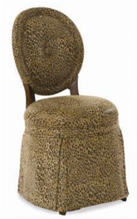 Louis XVI Leopard Print Medallion Back Side Chair