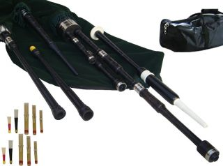 Lowland Small Pipes African Blackwood Bagpipe Mouth Blown in The Key