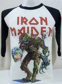 Iron Maiden Vtg Rock Nice Cool Slim Fit Thin Soft Jersey Baseball T