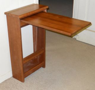 Cherry Stained Maple Hardwood Wall Table with Magazine Holder RV Van