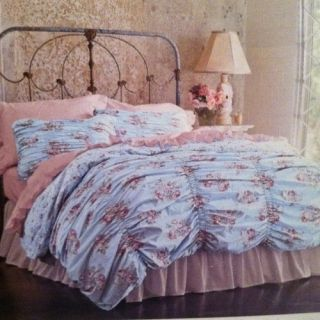 NEW simply shabby chic QUEEN DUVET cover 2 SHAMS cabbage rose RACHEL