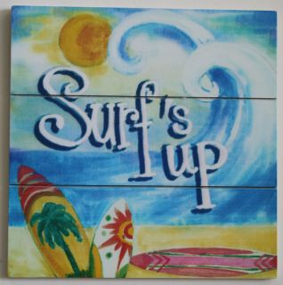Up Tropical Wooden Plaque Sign Margaretville Beach Decor 10 x10 NEW