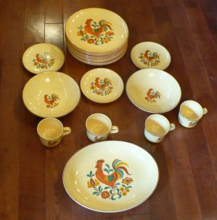 Vintage Taylor Smith Taylor Reveille ROOSTER DISHES China Set Plates