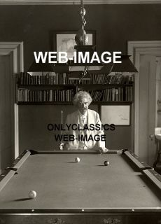 1908 WRITER MARK TWAIN CUE N HAND PLAYING BILLIARDS POOL TABLE PHOTO